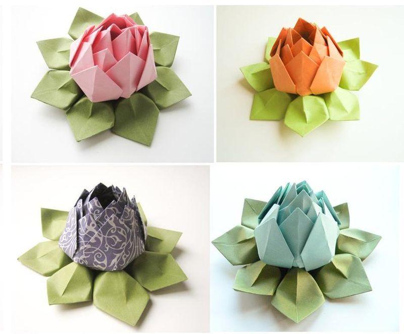 Suzette roberts folded flower favors folded flower favors origami lotus paper mightylinksfo