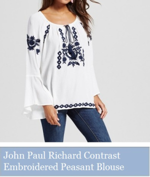 John Paul Richard Contrast Embroidered Peasant Blouse