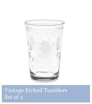 Vintage Etched Tumblers - Set of 4