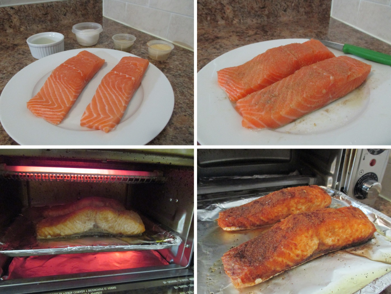 Suzetteroberts - sunday salmon salad - 09 2018 - fresh salmon   fine sea salt  ground white pepper + garlic powder rub  baked well-done