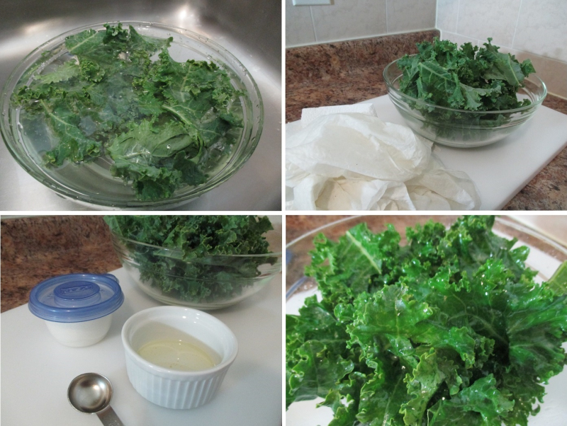Suzetteroberts - homemade kale chips - rinse  thoroughly dry  oil and salt the leaves - june 2018