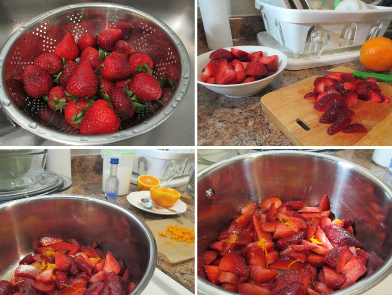 Suzetteroberts - strawberry-vodka dessert - 06 29 18 - 1. rinse strawberries 2. slice strawberries 3. add strawberries  sugar  orange juice and grated zest  vodka + salt