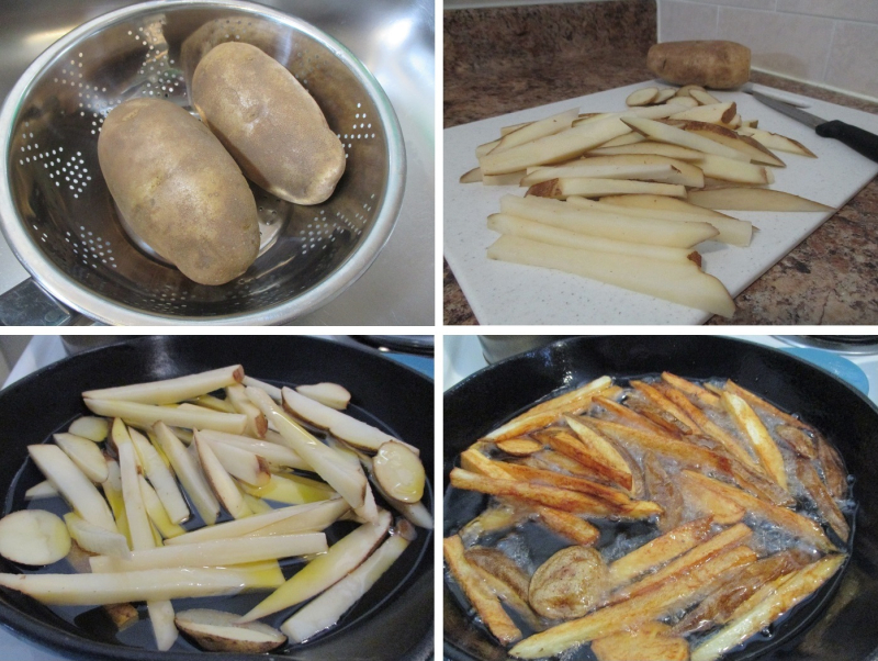 Suzetteroberts - scenes - 02 2019 - rustic-style homemade french fries - 1. russet potatoes  2. potato sticks (skin on)  3. potato sticks in the skillet  4. peanut oil added + deep frying