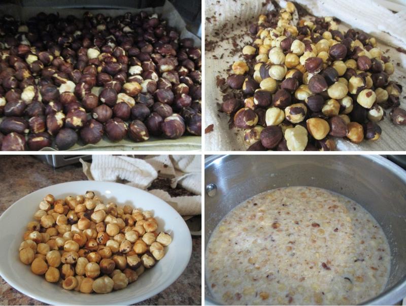 Suzetteroberts - frozen flavours - gianduja (chocolate-hazelnut) ice cream - 11 2018 - 1. roasted hazelnuts  2 - 3. papery skins removed  4. crushed hazelnuts steeping in milk