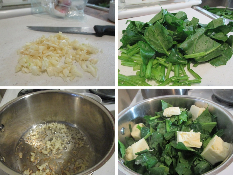 Suzetteroberts - fresh sauteed spinach - 04 2019 - 1. crushed + minced garlic  2. chopped spinach  3. butter + garlic  4. spinach + cubes of butter added