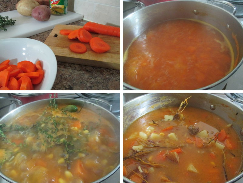 Suzetteroberts - food and drink - 10 2019 - pumpkin beef soup - 1. chopping the carbs and veggies  2. boiling the pumpkin  3. everything added to the bubbling pot  4. fully cooked soup
