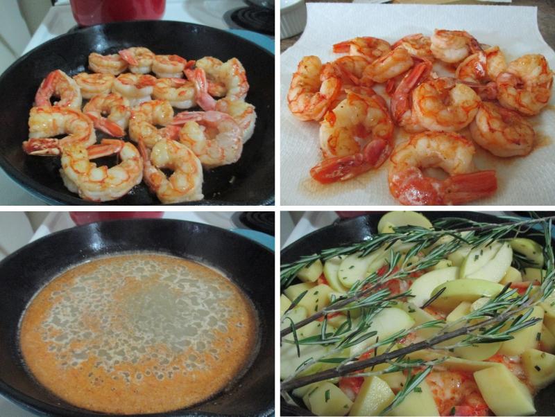 Suzetteroberts - food - 09 2020 - apple cider glazed shrimp - 1. lightly sauté shrimp 2. remove from skillet 3. make the apple cider mixture 4. ready for the oven