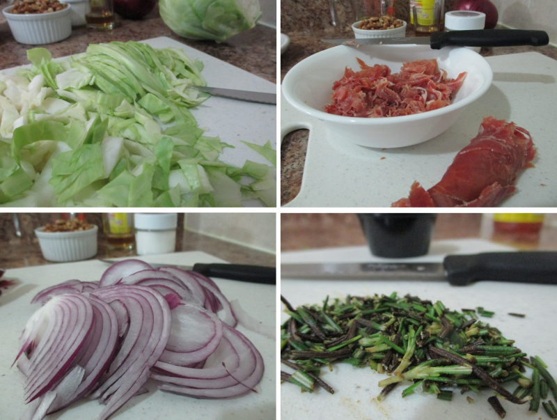 Suzetteroberts - food - 09 2020 - sautéed cabbage with prosciutto and toasted walnuts - chopping the goods - cabbage  prosciutto  red onion  and rosemary