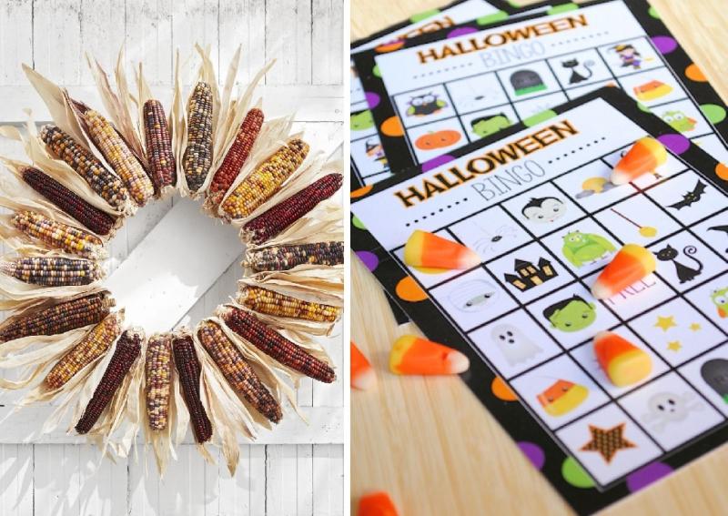 Suzetteroberts - art and design - 10 2020 - fall wreath + halloween bingo