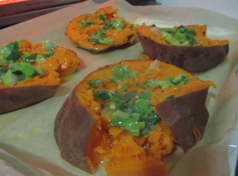 Suzetteroberts - food - 02 2021 - smashed garlic roasted sweet potatoes - ready for the oven