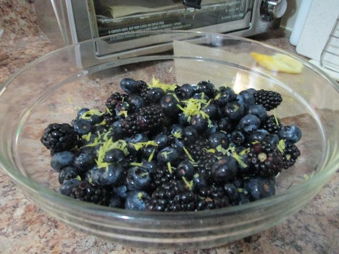 Suzetteroberts - dessert - 10 2020 - blueberry blackberry bake - berries with lemon juice + zest