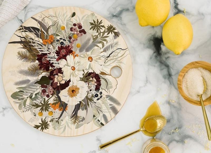 Suzetteroberts - art and design - 11 2020 - iveta bbolina ruby autumn round cutting board